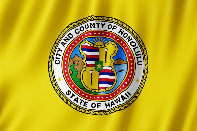 Bandeira da cidade de Honolulu, Havaí E.U. ilustração do vetor