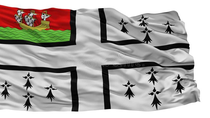 Bandeira da cidade de Nantes, França, isolado no fundo branco ilustração stock