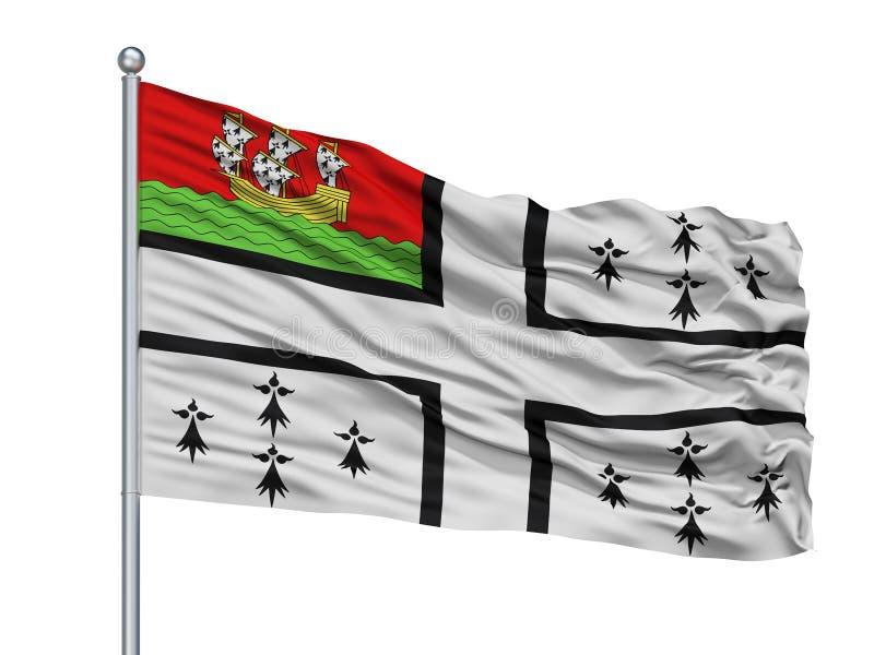 Bandeira da cidade de Nantes no mastro de bandeira, França, isolado no fundo branco ilustração royalty free