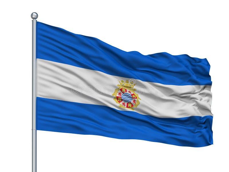 Bandeira da cidade de Plana do La de Castello no mastro de bandeira, Espanha, isolada no fundo branco ilustração royalty free
