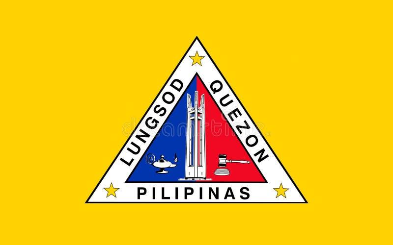 Bandeira da cidade de Quezon, Filipinas imagem de stock royalty free
