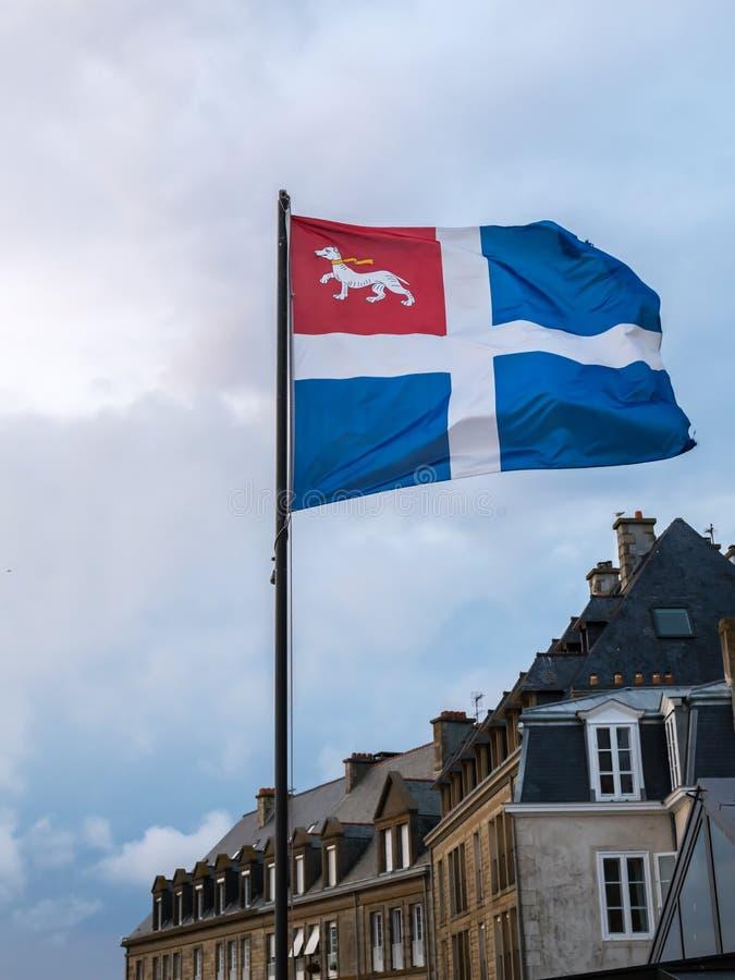 Bandeira da cidade de Saint Malo foto de stock royalty free