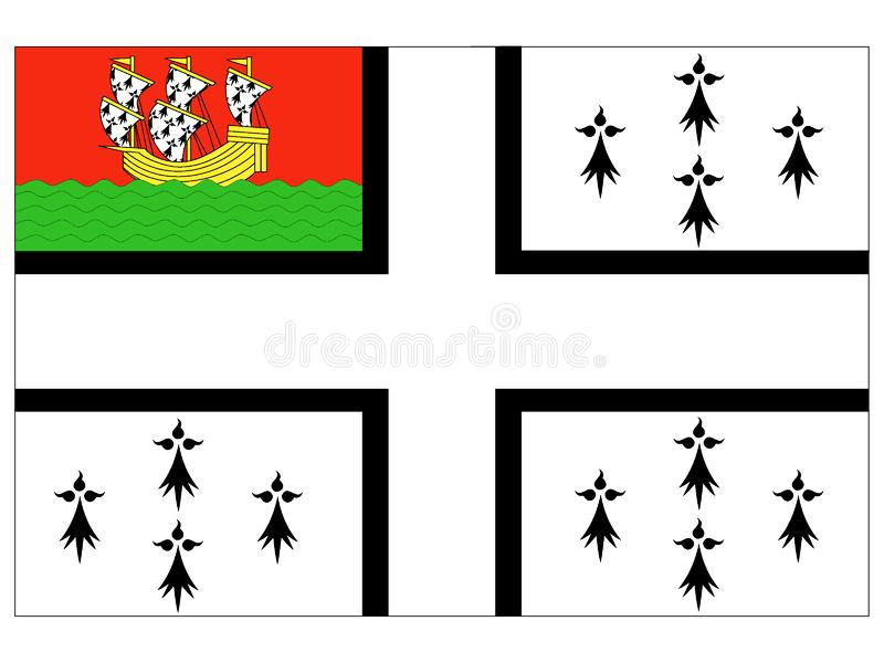 Bandeira da cidade francesa de Nantes ilustração royalty free