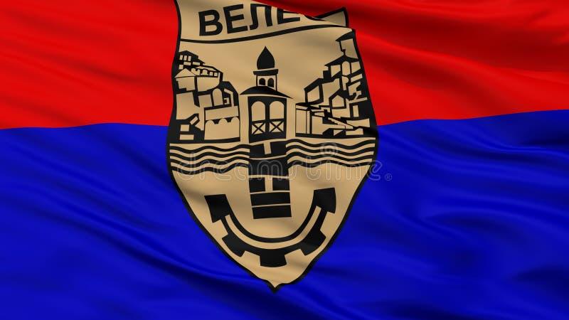 Bandeira da cidade da municipalidade de Veles, Macedônia, opinião do close up imagem de stock