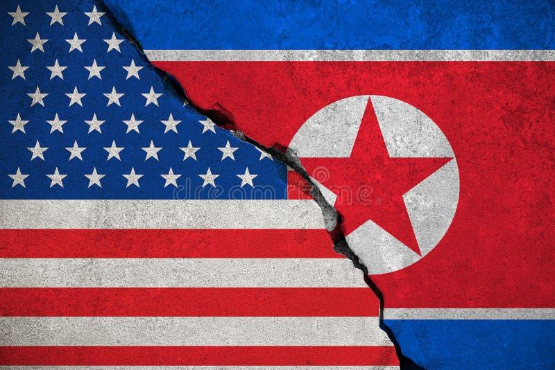 Bandeira da Coreia do Norte em parede de tijolo quebrada e meia bandeira dos EUA Estados Unidos da América, presidente do trunfo  ilustração do vetor