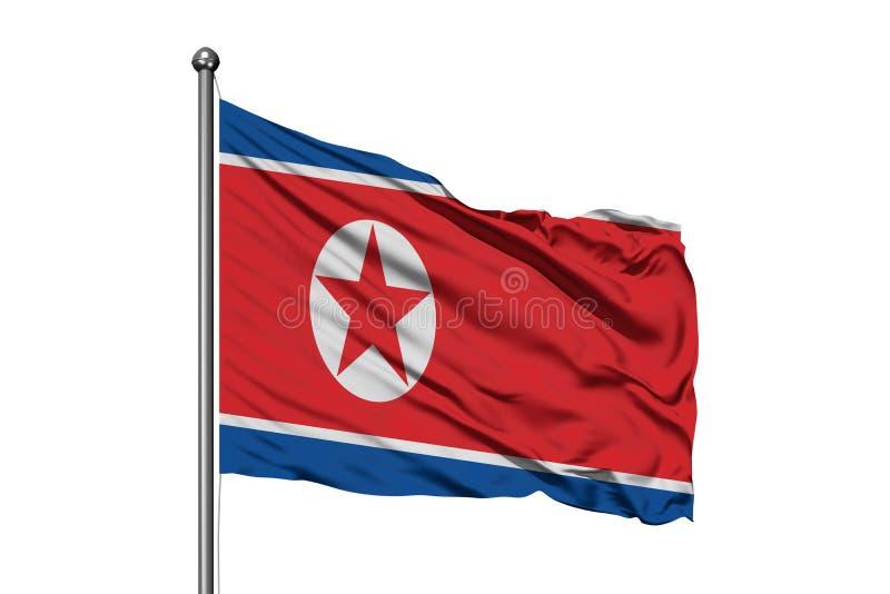 Bandeira da Coreia do Norte que acena no vento, fundo branco isolado Bandeira norte-coreana imagem de stock