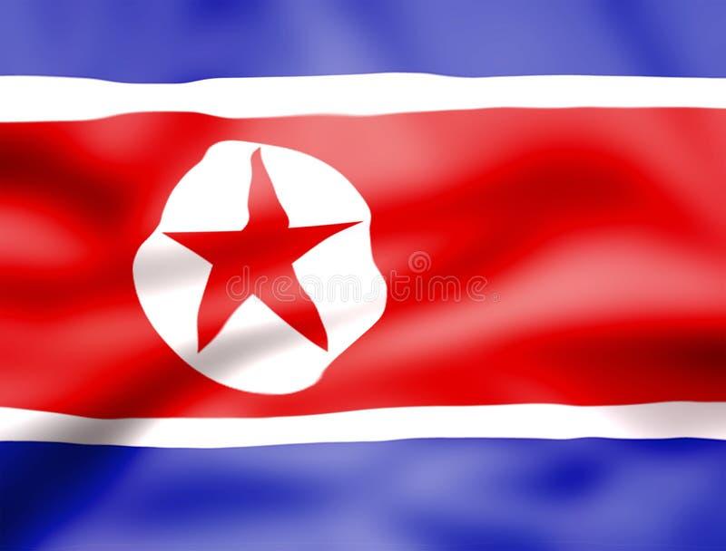 Bandeira da Coreia do Norte, bandeira realística da Coreia do Norte na superfície ondulada da tela foto de stock