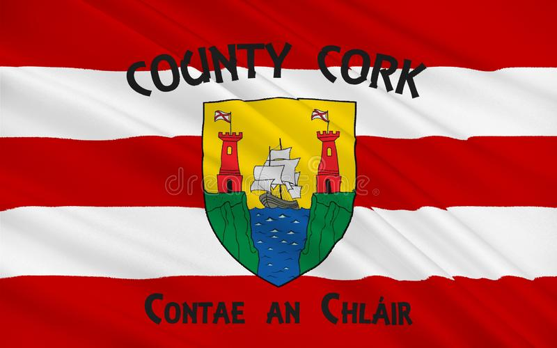 A bandeira da cortiça do condado é o condado o maior e do extremo sul no Ir ilustração do vetor