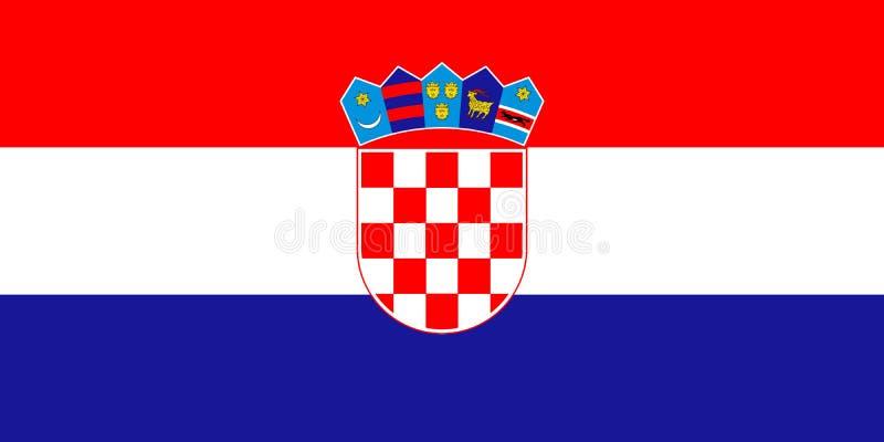 Bandeira da Croácia em cores oficiais e com prolongamento do 1:2 ilustração stock