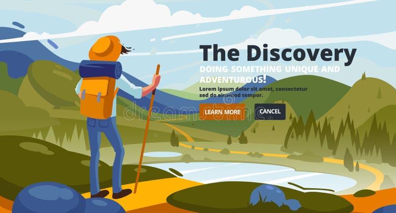 Bandeira da descoberta Em torno do mundo Conceito da descoberta, explora??o, caminhando, turismo da aventura ilustração royalty free