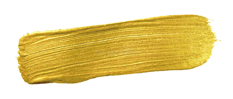 Bandeira da escova de pintura da cor do ouro Mancha dourada acrílica do curso da mancha no fundo branco Texto de brilho do ouro d foto de stock royalty free