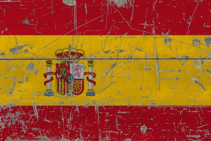 Bandeira da Espanha do Grunge na superfície de madeira riscada velha Fundo nacional do vintage fotos de stock