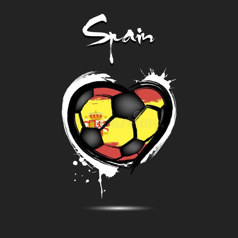 Bandeira da Espanha sob a forma de um coração ilustração royalty free