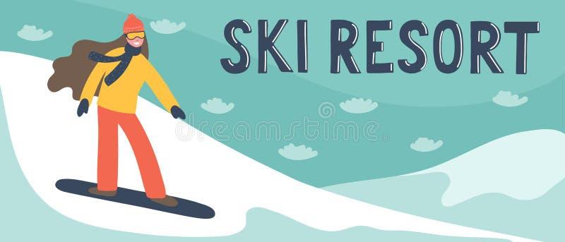 Bandeira da estância de esqui ilustração royalty free