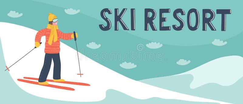 Bandeira da estância de esqui Esquiador tirado mão nas montanhas com rotulação da escrita da mão ilustração royalty free