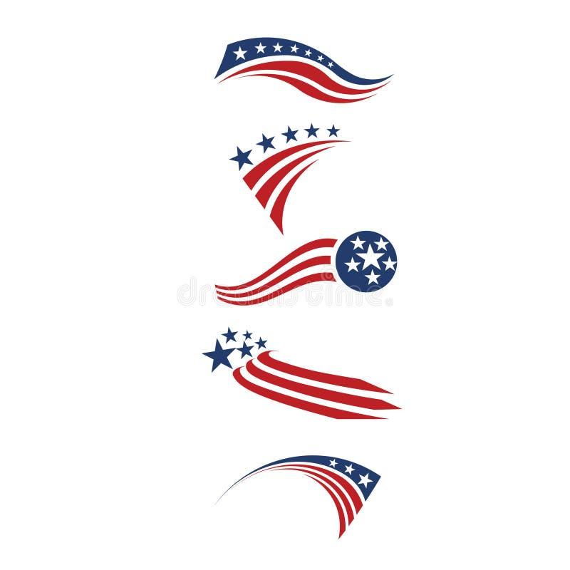 Bandeira da estrela dos EUA e elementos do projeto das listras ilustração stock