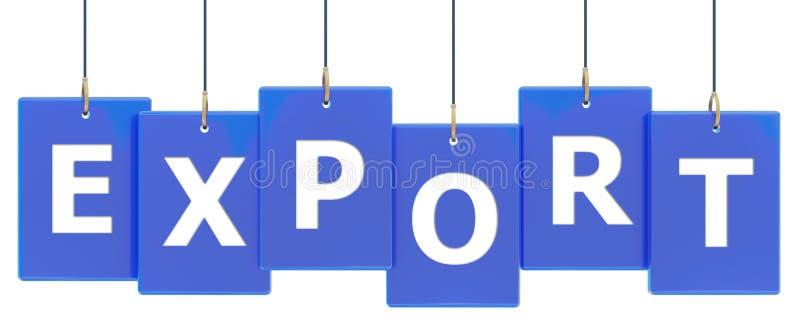 Bandeira da etiqueta da exportação ilustração do vetor