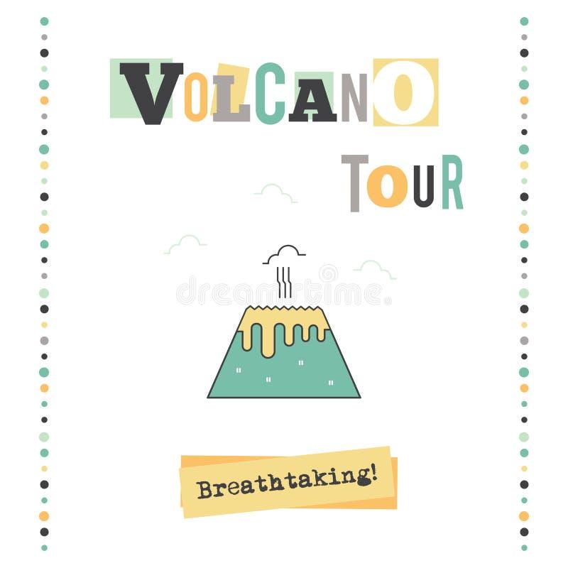 Bandeira da excursão do vulcão ilustração royalty free