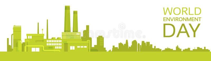 Bandeira da fábrica do dia de ambiente de mundo da planta verde da silhueta ilustração do vetor