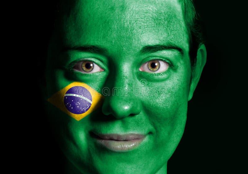 Bandeira da face de Brasil imagens de stock