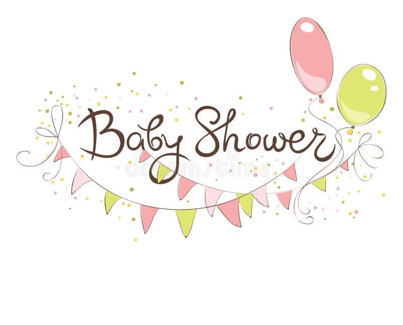 Bandeira da festa do bebê para a menina ilustração do vetor