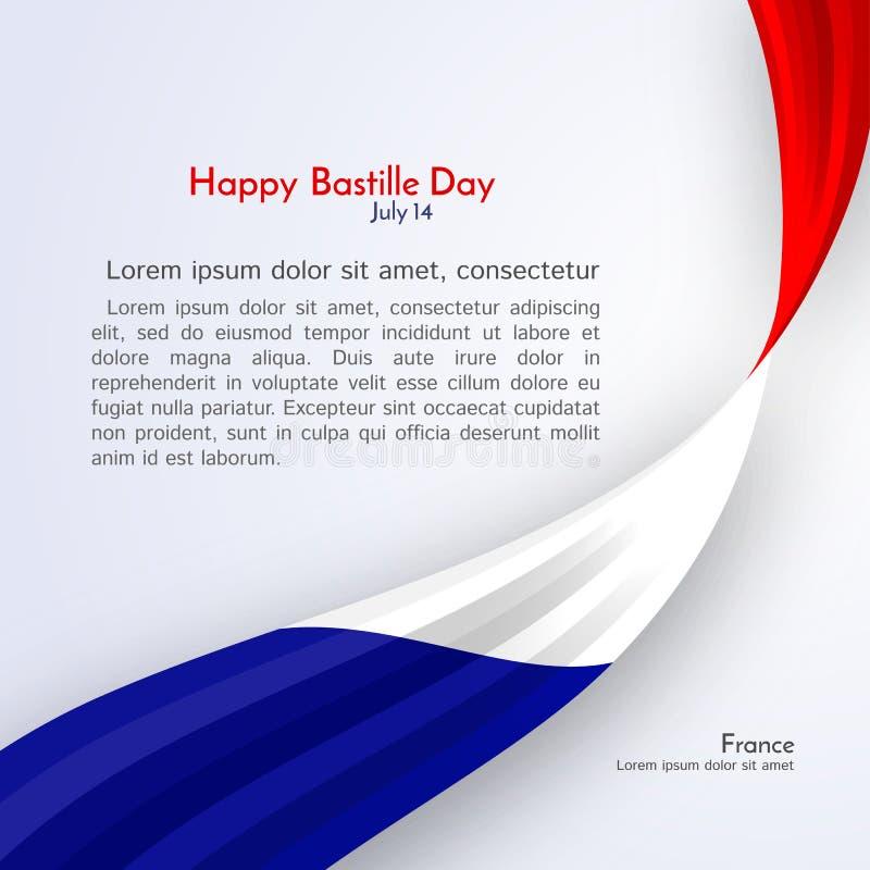 Bandeira da fita do dia feliz de Fran?a e de Bastille do texto em uma disposi??o clara da bandeira do folheto do fundo com linhas ilustração royalty free