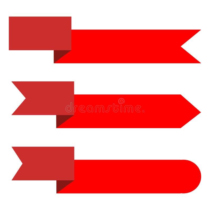 Bandeira da fita no fundo branco etiquetas e collec vermelhos ajustados da etiqueta ilustração royalty free