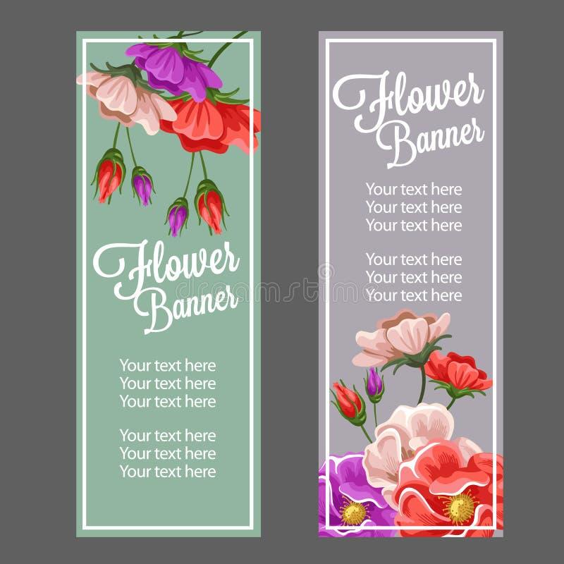 Bandeira da flor de Vinatage ilustração stock