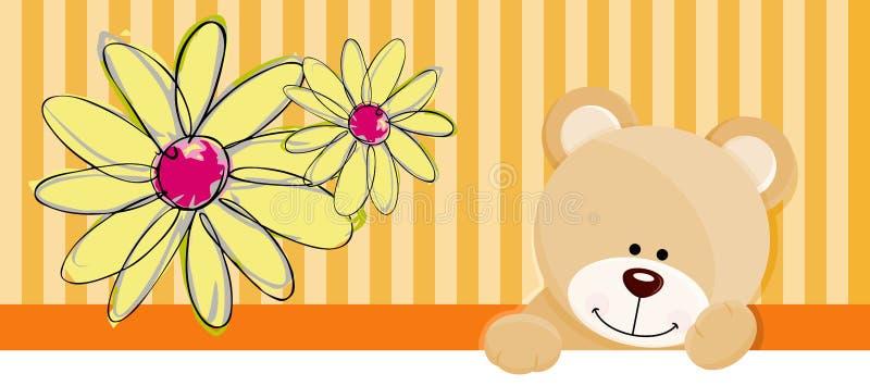 Bandeira da flor do urso de peluche ilustração do vetor
