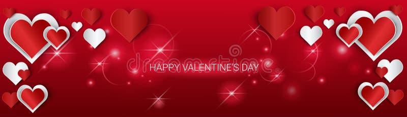 Bandeira da forma do coração do amor de Valentine Day Gift Card Holiday com espaço da cópia ilustração stock