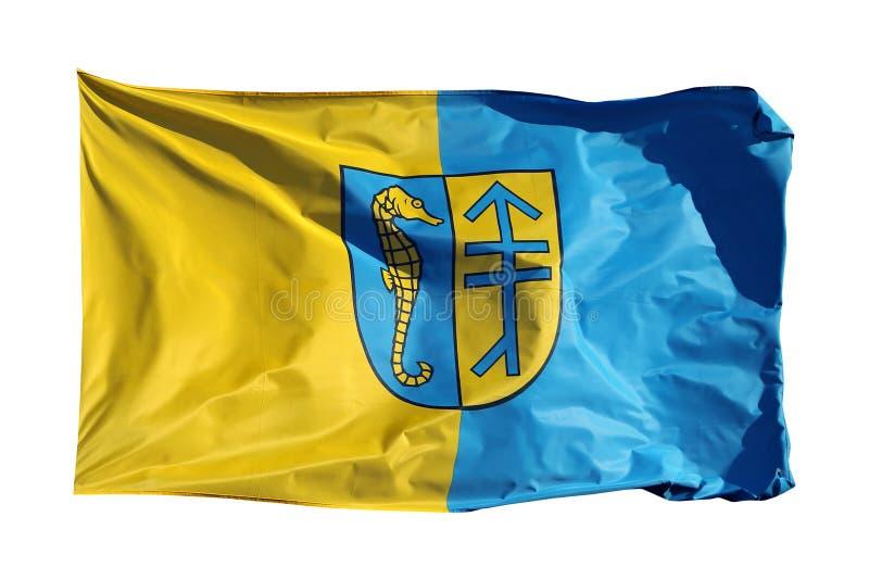 Bandeira da ilha alemão Hiddensee, isolada no branco imagem de stock