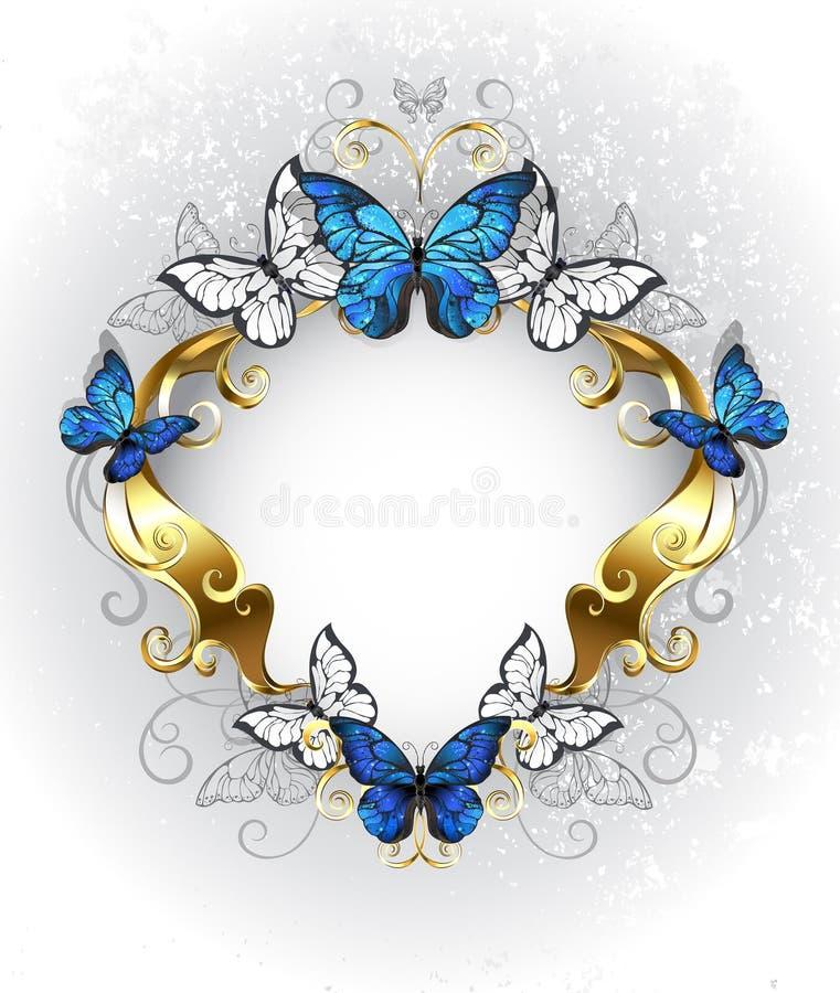 Bandeira da joia com o morpho azul das borboletas ilustração royalty free