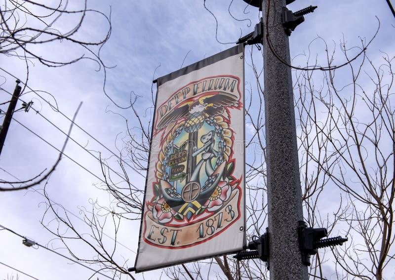 Bandeira da lâmpada de rua que comemora Ellum profundo, Dallas, Texas imagem de stock