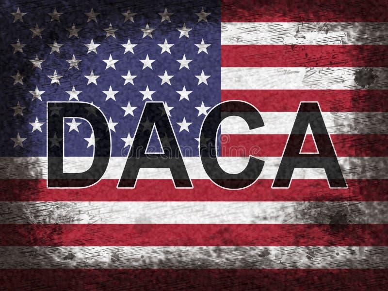 Bandeira da legislação do sonhador das crianças de Daca para nós imigração - 2d ilustração ilustração stock