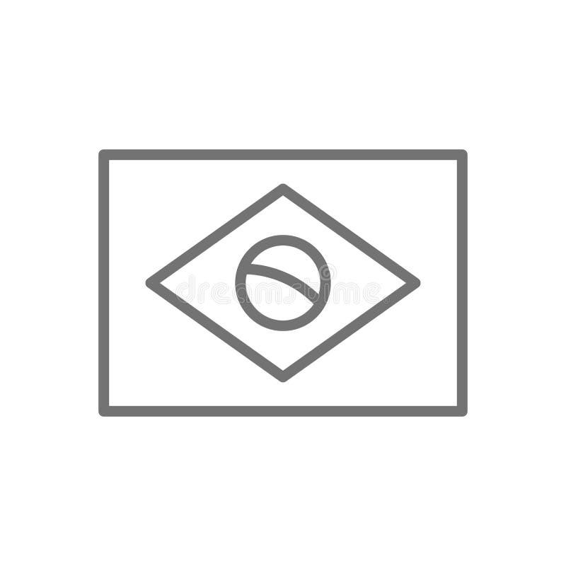 Bandeira da linha ícone de Brasil ilustração royalty free
