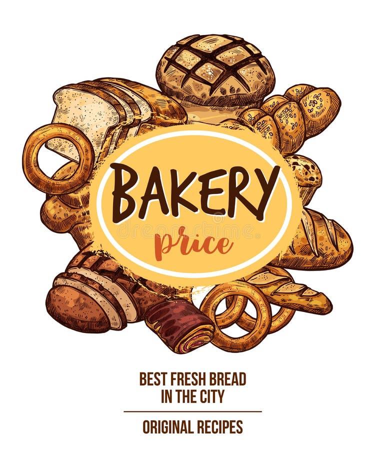 Bandeira da loja da padaria com pão e artigos de pastelaria ilustração stock