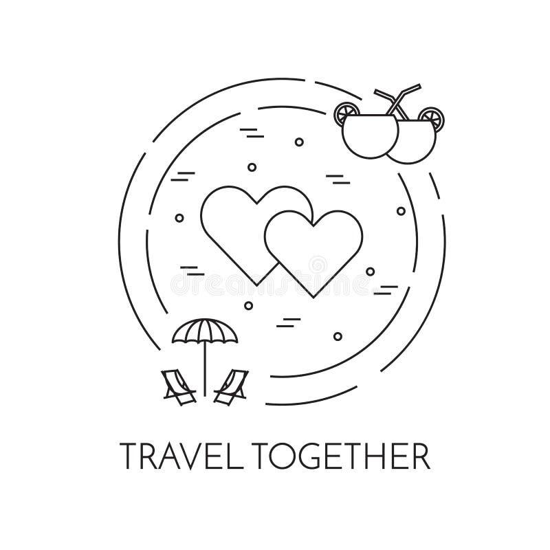 Bandeira da lua de mel com linha arte dos corações, da praia e dos cocktail ilustração royalty free