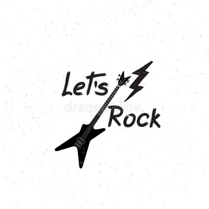 Bandeira da música rock Fundo musical do sinal Deixe a rotulação da rocha do ` s ilustração royalty free