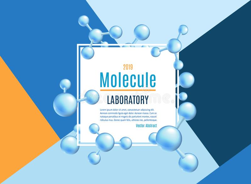 Bandeira da molécula do sumário do vetor ajustada para laboratórios ilustração royalty free