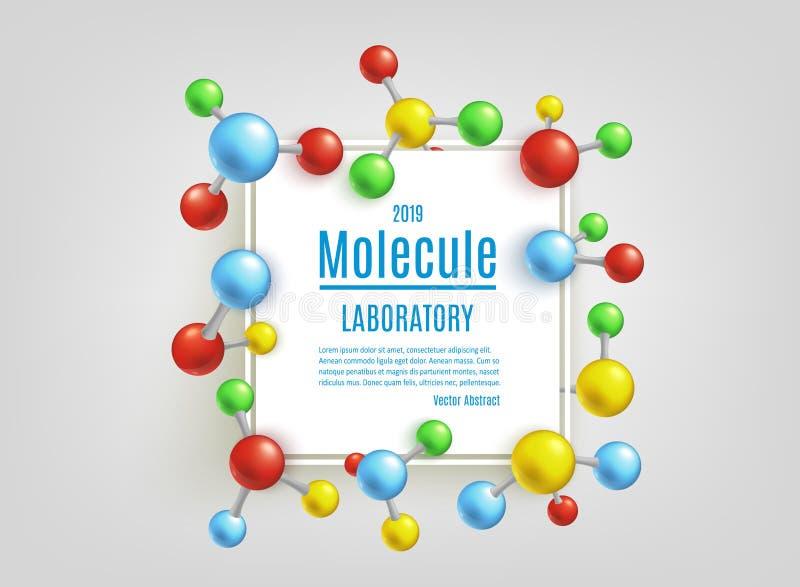 Bandeira da molécula do sumário do vetor ajustada para laboratórios ilustração do vetor