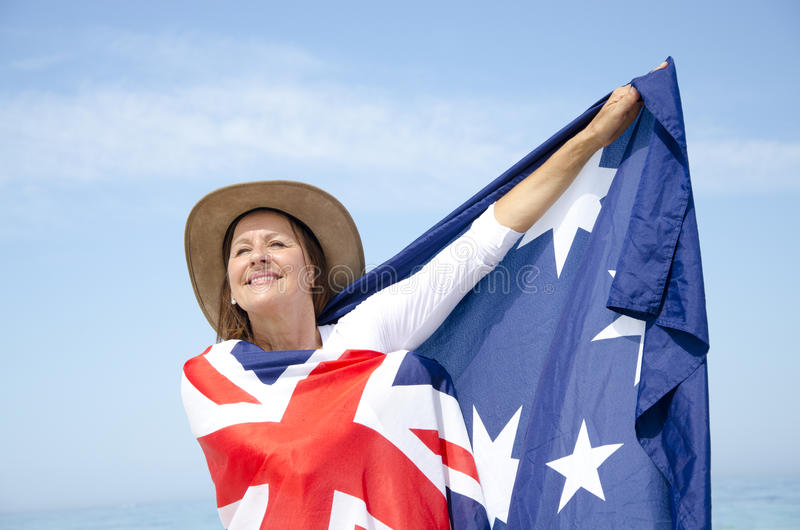 Bandeira da mulher e do australiano   foto de stock royalty free