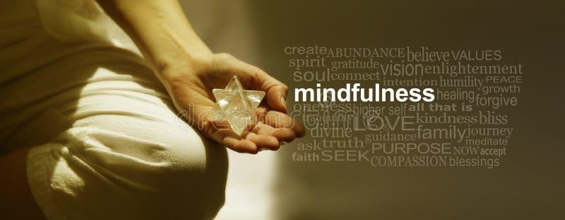 Bandeira da nuvem da palavra da meditação do Mindfulness fotografia de stock royalty free