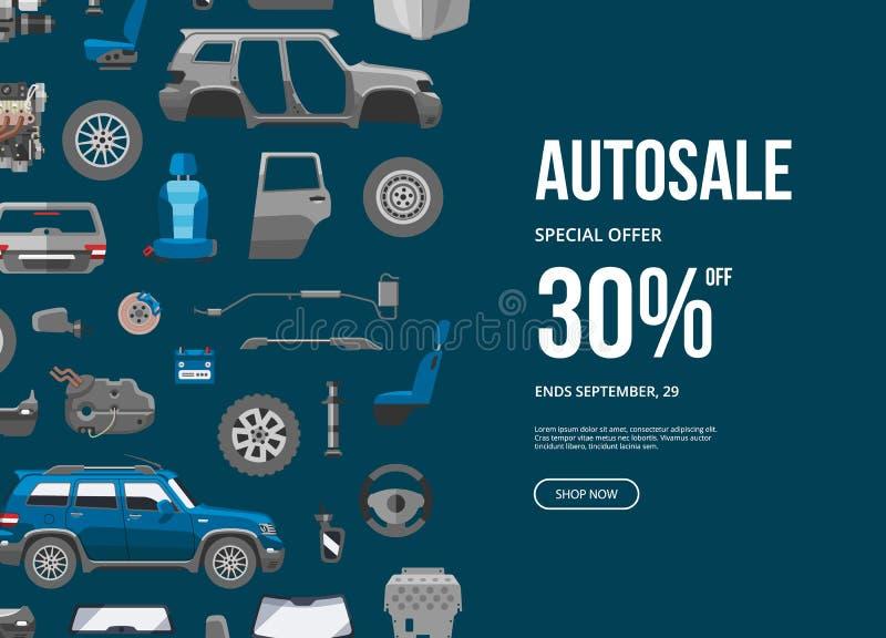 Bandeira da oferta especial de Autosale Ilustração do vetor do desconto do serviço do carro Detalhe do carro, reparo, freio da en ilustração do vetor