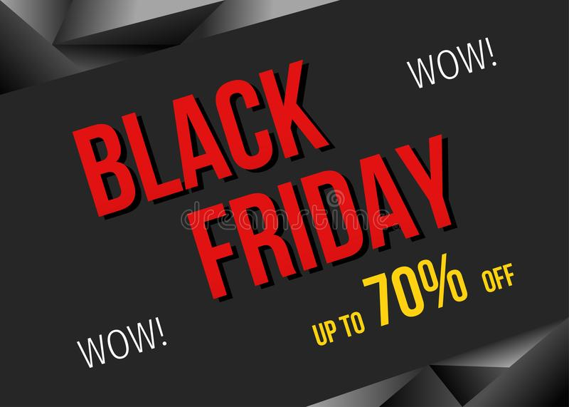 Bandeira da oferta especial de Black Friday: 70% fora ilustração royalty free