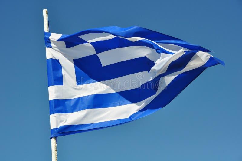 A bandeira da ondulação de Grécia foto de stock royalty free