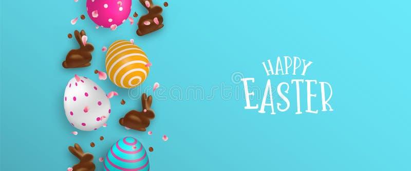 Bandeira da Páscoa de ovos do coelho e da cor do chocolate ilustração stock