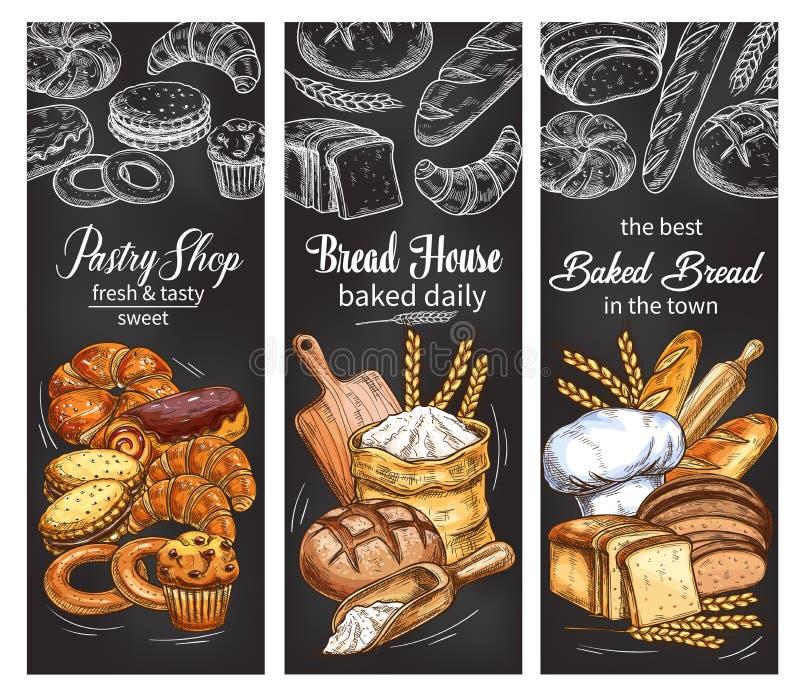 Bandeira da padaria e da loja de pastelaria com pão e bolo ilustração do vetor