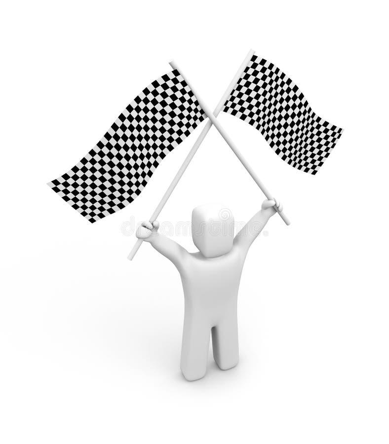 Bandeira da pessoa e dos dois verificadores ilustração do vetor