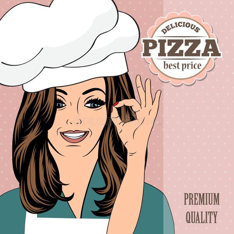 Bandeira da propaganda da pizza com uma senhora bonita ilustração do vetor