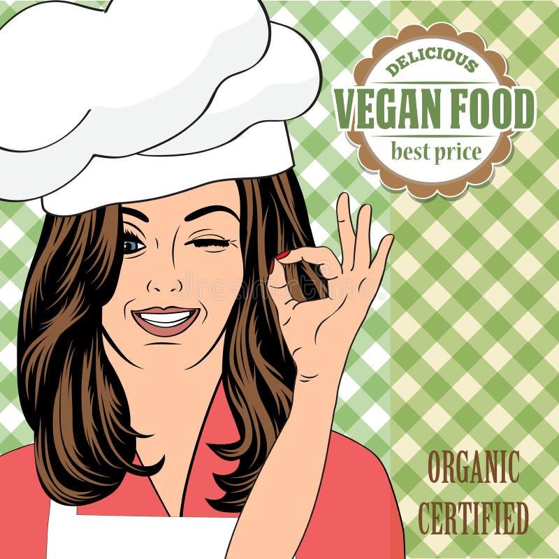Bandeira da propaganda do alimento do vegetariano com uma senhora bonita ilustração royalty free